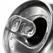 Royalty-Free Stock Photo: Aluminum tin can and easy-open close up, top view
