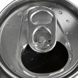 Royalty-Free Stock Photo: Aluminum tin can and easy-open close up , top view