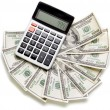 American money and calculator — Stock Photo