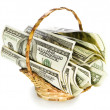Money collected in the basket — Stock Photo