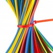 Colorful zip cable ties isolated against white background — Stock Photo