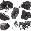 Collection black coal isolated on white background — Stock Photo #14163136