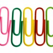 Multicolored paper clips isolated on white background - Stock Photo