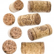 Collection of wine corks over white background — Stock Photo