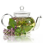 A glass tea pot with fragrant herbs isolated on a white background — Stock Photo