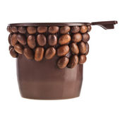 Coffee cup made of beans isolated on white background — Stock Photo