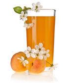 Aprikos juice med färsk frukt, isolerad på vit — Stockfoto