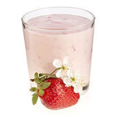 Strawberry Smoothie - Fresh Berries with Yogurt isolated on white background — Stock Photo