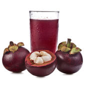 Fresh mangosteen fruit and juice , Isolated on white — Stock Photo