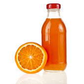 Orange juice glass bottle and half orange, iIsolated on white background — Stock Photo