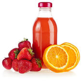 A bottle juice with fresh orange and strawberry, iIsolated on white background — Stock Photo