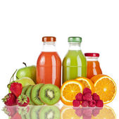 Colorful Bottles juice with fresh berries and fruits isolated on white — Stock Photo