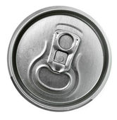 Aluminum tin can and easy-open close up, top view — Stock Photo