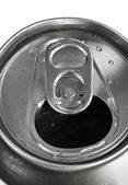 Aluminum tin can and easy-open close up , top view — Stock Photo