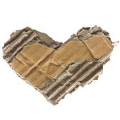 Cardboard torn heart isolated — Stock Photo