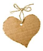Keten kordon ile kalp şeklinde karton etiket — Stok fotoğraf