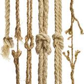 Cordas de cânhamo com nó isolado no fundo branco — Foto Stock