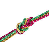 Colorful string rope isolated over white — Stock Photo