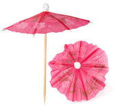 Cocktail umbrellas on white background — Stock Photo