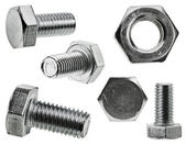 Various views of the bolt and nut , Closeup isolated on a white background — Stock Photo