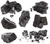 Collection black coal isolated on white background — Foto Stock