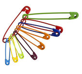 Colorful safety pins — Stock Photo