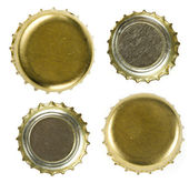 Beer bottle caps Isolated on white background — Stock Photo