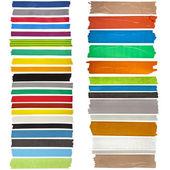 Collection d'un ruban adhésif coloré ou blancs autocollants pour texte sur fond blanc — Photo