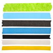 Raccolta di nastro adesivo colorato o bianco adesivi per il testo su sfondo bianco — Foto Stock