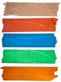 Kolekcja kolorowe taśmy klejącej lub puste naklejki na tekst na białym tle — Zdjęcie stockowe