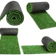 Roll green grass for cover sports field isolated on white background — Stock Photo #14377093