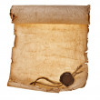 Old paper with a wax seal on a white background — Stock Photo