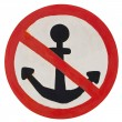 Stock Photo: No anchorage sign on white background. Isolated