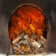 Stock Photo: Fire flames oven, fireplace