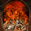 Fire flames oven, fireplace - Stock Photo