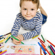 Boy drawing a house — Stock Photo
