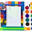 School tools, back to school background - Stock Photo