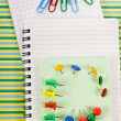 Notebooks and paper clips — Stok fotoğraf
