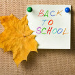 Colorfull notes, back to school with autumn leaf - Stock Photo