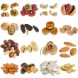 Large collection of nuts, seeds isolated on a white background — Stock Photo