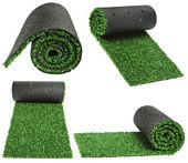 Roll green grass for cover sports field isolated on white background — Stock Photo