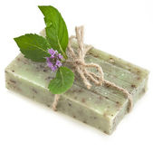 Natural handmade soap with fragrant herbs, — Stock Photo