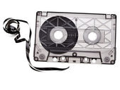Old broken cassette isolated on white — Stock Photo