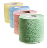 Rolls of toilet paper isolated on white — Stock Photo