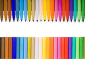 Multicolored felt pens isolated on white — 图库照片