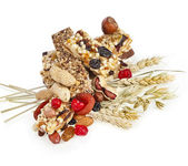 Healthy granola muesli isolated on white background — Stock Photo