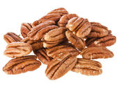 Peeled pecan nuts close up, isolated on white background — Stock Photo