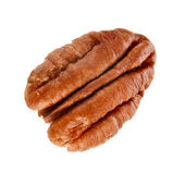Peeled pecan nuts close up, isolated on white background — Stock Photo