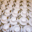Many rows of pure white cup and saucer — Stock Photo #14381211