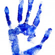 Blue hand print on a white - Stock Photo